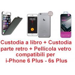 Custodia + bumper + protezione display in vetro temprato Cdr compatibili di alta qualita' per iPhone 6s Plus, 6 Plus 5.5